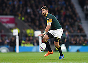 South Africa full back Willie le Roux places a kick deep into the New Zealand 22 during the Rugby World Cup Semi-Final match between South Africa and New Zealand at Twickenham, Richmond, United Kingdom on 24 October 2015. Photo by David Charbit.