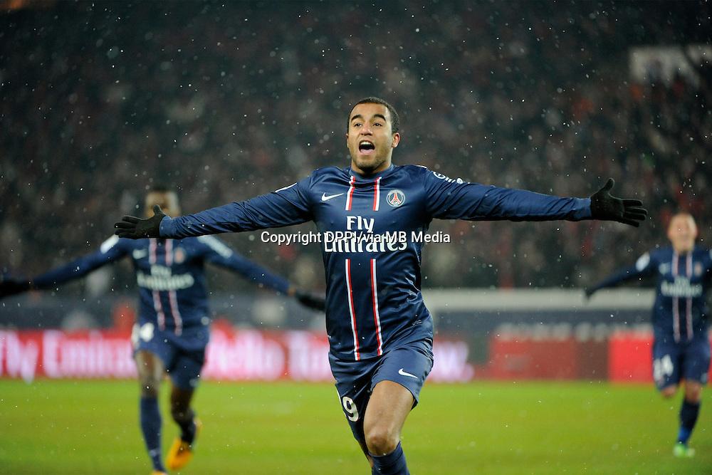 FOOTBALL - FRENCH CHAMPIONSHIP 2012/2013 - L1 - PARIS SAINT GERMAIN v OLYMPIQUE MARSEILLE - 24/02/2013 - PHOTO JEAN MARIE HERVIO / REGAMEDIA / DPPI - JOY LUCAS MOURA (PSG) AFTER HIS GOAL