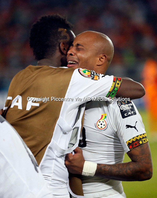 Ghana Captain Andre Ayew weeps after being defeated by Ivory Coast during their Africa Cup of Nations finals soccer match at the Estadio de Bata Equatorial Guinea, on February 8th, 2015. Ivory Coast won 9-8 on post penalities