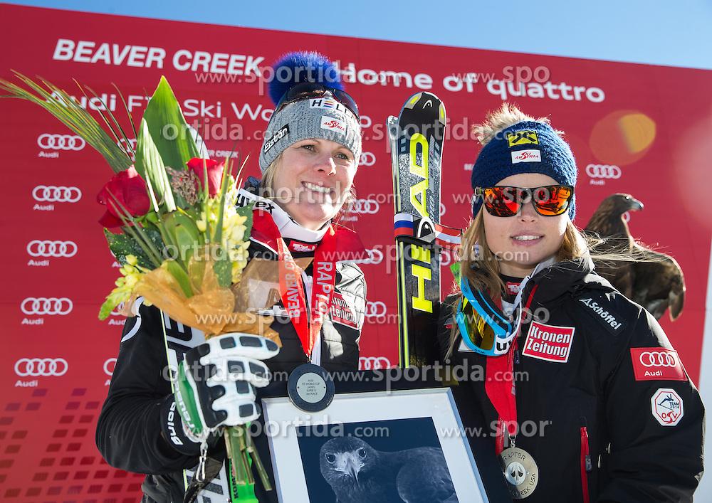 30.11.2013, Birds of Prey Raptor, Beaver Creek, USA, FIS Ski Weltcup, Beaver Creek, SuperG, Damen, Siegerpraesentation, im Bild v.r.n.l. Anna Fenninger (AUT/2. Platz), Nicole Hosp (AUT/3. Platz) // f.r.t.l. 2nd place Anna Fenninger of Austria, 1st place Lara Gut of Switzerland and 1st place Nicole Hosp of Austria Celebrate on Podium after ladies Super-G of the Beaver Creek FIS Ski Alpine World Cup at the Birds of Prey Raptor in Beaver Creek, United States on 2012/11/30. EXPA Pictures © 2013, PhotoCredit: EXPA/ Johann Groder