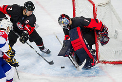 Rok Pajic of Slovenia vs Jun Tonosaki and Masahito Haruna of Japan during ice-hockey match between Slovenia and Japan at IIHF World Championship DIV. I Group A Slovenia 2012, on April 16, 2012 in Arena Stozice, Ljubljana, Slovenia. (Photo by Vid Ponikvar / Sportida.com)