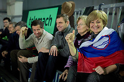 Parents of Blaz Kavcic during 3rd match of Davis cup Slovenia vs. Portugal on February 1, 2014 in Kranj, Slovenia. Photo by Vid Ponikvar / Sportida