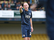 Southend player Adam Barrett organises the defence during the Sky Bet League 1 match between Southend United and Peterborough United at Roots Hall, Southend, England on 5 September 2015. Photo by Bennett Dean.