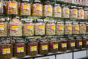 Chinese herbs, medicines, bird's nests and dried seafood in shop in Wing Lok Street, Sheung Wan, Hong Kong, China