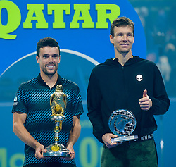 DOHA, Jan. 6, 2019  SP)QATAR-DOHA-TENNIS-QATAR OPEN.    Spain's Roberto Bautista Agut (L) and Tomas Berdych of Czech Republic pose with the trophies after the final match.    at the ATP Qatar Open tennis tournament in Doha, capital of Qatar, Jan. 5, 2019. Roberto Bautista Agut claimed the title by defeating Tomas Berdych with 2-1. (Credit Image: © Yangyuanyong/Xinhua via ZUMA Wire)