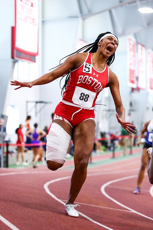 womens 200 meters, BU, Alicia Thomas, injury<br /> Boston University Scarlet and White<br /> Indoor Track & Field, Bruce LeHane