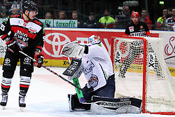 27.02.2015, Lanxess Arena, Köln, GER, DEL, Kölner Haie vs Straubing Tigers, 51. Runde, im Bild Dustin Sthlmeier (Straubing) pariert einen Schuss, links: Sebastian Uvira (Koeln) // during Germans DEL Icehockey League 51st round match between Kölner Haie and Straubing Tigers at the Lanxess Arena in Köln, Germany on 2015/02/27. EXPA Pictures © 2015, PhotoCredit: EXPA/ Eibner-Pressefoto/ Weiss<br /> <br /> *****ATTENTION - OUT of GER*****
