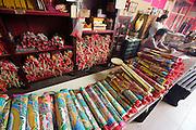 Malaysia, Kuala Lumpur. Chinatown. Shop with offerings at Guan Di Temple.