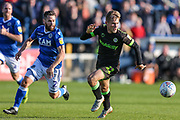 Forest Green Rovers George Williams(11) chases the ball during the EFL Sky Bet League 2 match between Macclesfield Town and Forest Green Rovers at Moss Rose, Macclesfield, United Kingdom on 29 September 2018.