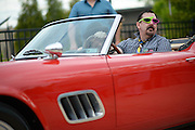 John Britton sits in a replica of the 1961 Ferrari before the Shermer High School 1986 Spring Dance that's part of the Ferris Fest at the Athletico Center on, Friday, March 20, 2016, in Northbrook. (Photo by Rob Hart)
