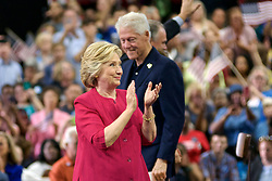 Philadelphia, Pennsylvania, USA - July 29, 2016; Democratic presidential nominee former Secretary of State Hillary Clinton, joined by her husband former U.S. President Bill Clinton greet voters at a campaign rally at Temple University in Philadelphia, Pennsylvania, held a day after the DNC.