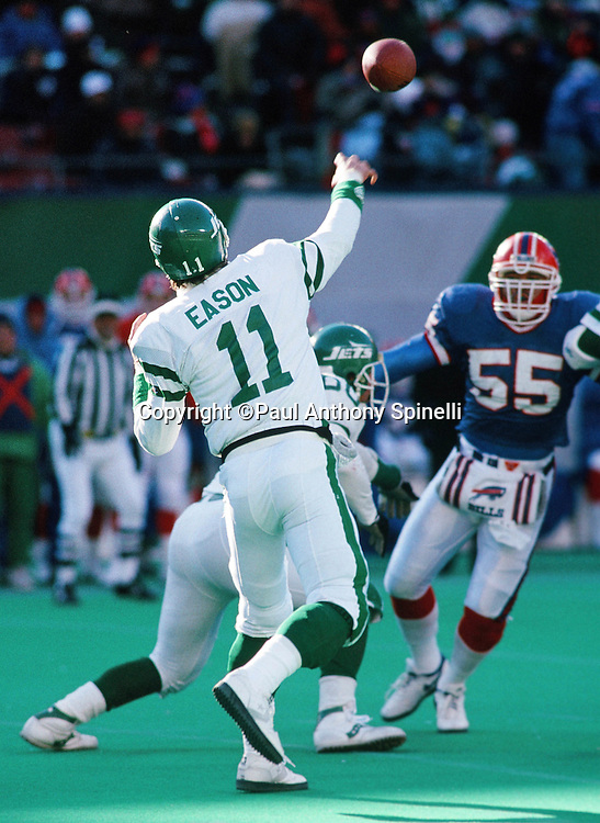 New York Jets quarterback Tony Eason (11) throws a pass during the NFL football game against the Buffalo Bills on Dec. 23, 1989 in East Rutherford, N.J. The Bills won the game in a 37-0 shutout. (©Paul Anthony Spinelli)
