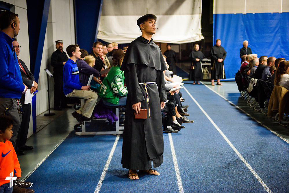 An actor portraying Martin Luther waits for his start during a 500th Anniversary of the Reformation festival worship service on Sunday, Oct. 29, 2017, in the Gangelhoff Center at Concordia University, St. Paul, in St. Paul, Minn. The service was held in conjunction with Concordia University, St. Paul, and the Minnesota North and South Districts of the Lutheran Church-Missouri Synod. LCMS Communications/Erik M. Lunsford