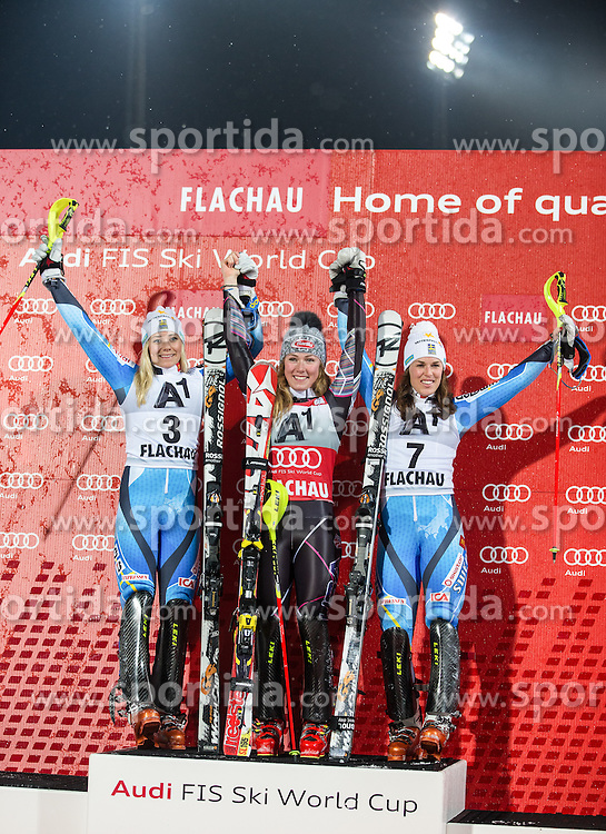 14.01.2014, Hermann Maier Weltcupstrecke, Flachau, AUT, FIS Weltcup Ski Alpin, Slalom, Damen, Siegerehrung, im Bild v. l.n. r. Frida Hansdotter (2. Platz/ SWE), Mikaela Shiffrin (1. Platz/ USA), Maria Pietilae Holmner (3. Platz/ SWE)  // f. l.t. r. Frida Hansdotter (2. place/ SWE), Mikaela Shiffrin (Winner/ USA), Maria Pietilae Holmner (3. place/ SWE) celebrate on Podium after the ladies Slalom of the FIS Ski Alpine World Cup at the Hermann Maier World Cup course in Flachau, Austria on 2014/01/14. EXPA Pictures © 2013, PhotoCredit: EXPA/ Johann Groder