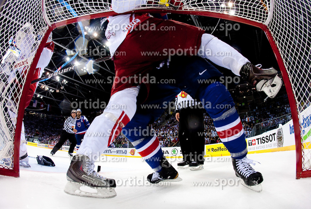 Jesper Jensen B of Denmark in fight Miroslav Satan of Slovakia  during ice-hockey match between Slovakia and Denamark of Group E in Qualifying Round of IIHF 2011 World Championship Slovakia, on May 9, 2011 in Orange Arena, Bratislava, Slovakia. Slovakia defeated Denmark 4-1. (Photo By Vid Ponikvar / Sportida.com)