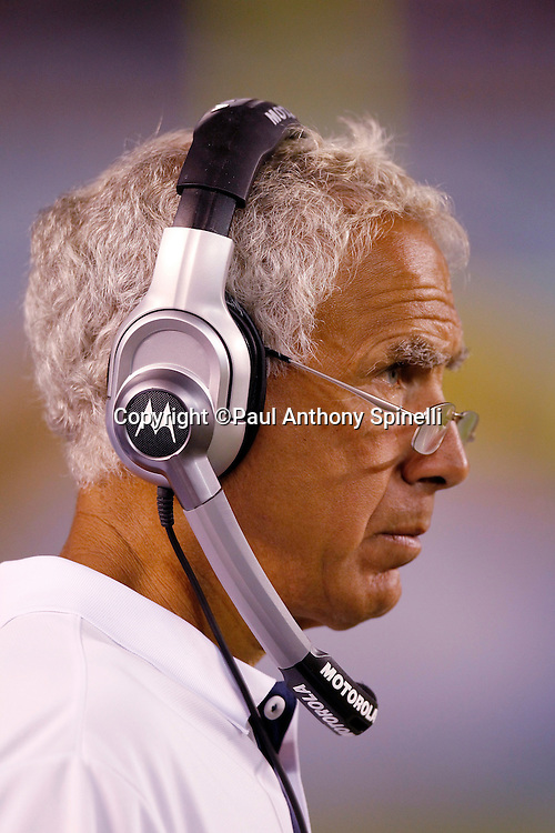 Dallas Cowboys Defensive Line Coach Paul Pasqualoni looks on during a NFL week 2 preseason football game against the San Diego Chargers on Saturday, August 21, 2010 in San Diego, California. The Cowboys won the game 16-14. (©Paul Anthony Spinelli)