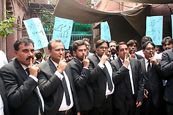 July 27, 2017 - Lahore, Pakistan - Members of Lahore High Court Bar Association are holding .protest demonstration against Prime Minister Muhammad Nawaz Sharif, outside High Court .building in Lahore. PM Sharif Resigned on 28th After Panama Papers Verdict. (Credit Image: © PPI via ZUMA Wire)