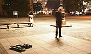 violinist busking at midnight