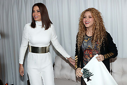 Lebanese Member of Parliament Sethrida Geagea (left) receives Colombian singer Shakira as she visits Lebanon on July 13, 2018. Shakira is of Lebanese origin, a country where her paternal grandmother was born. Photo by Balkis Press/ABACAPRESS.COM