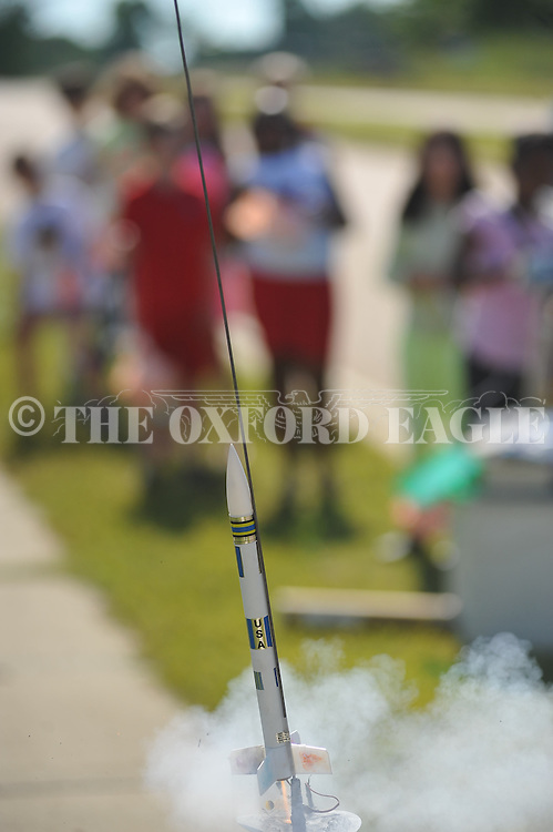 Rocket launch at Della Davidson Elementary in Oxford, Miss. on Wednesday, May 8, 2013.