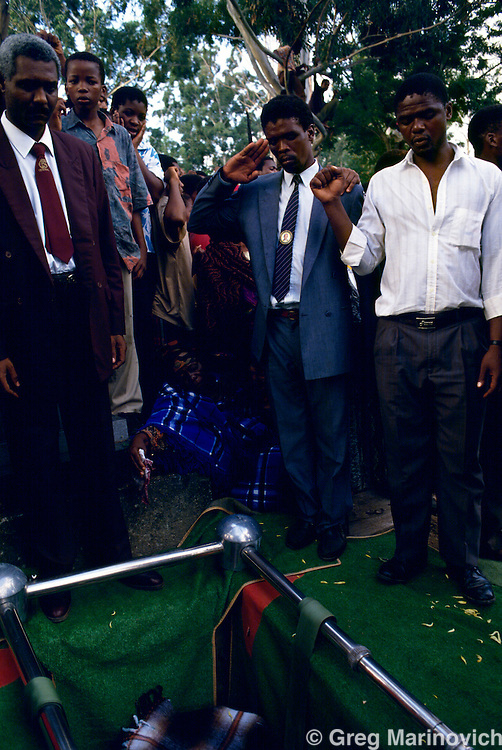 Table Mountain, KwaZulu Natal, South Africa 1992-4. A funeral for an ANC supporting  victim of political violence, KwaZuluNatal.