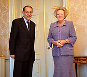 Hare Majesteit de Koningin Beatrix heeft op donderdag 23 november 2006 de heer Javier Solana, Secretaris-Generaal van de Raad van de Europese Unie op audi&euml;ntie in Paleis Huis ten Bosch. <br />