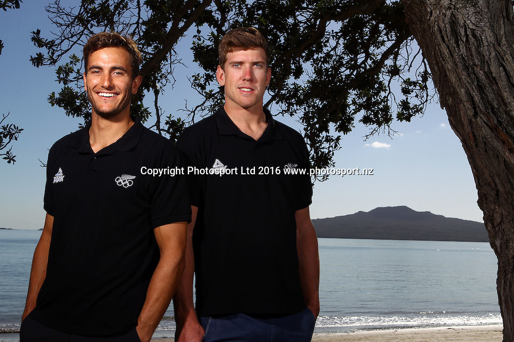 Blair Tuke (L) and Peter Burling, 49er, Olympic Sailing Team Announcement, Wakatere Boating Club, Narrow Neck Beach, Auckland. 14 March 2016. Copyright Image: William Booth / www.photosport.nz