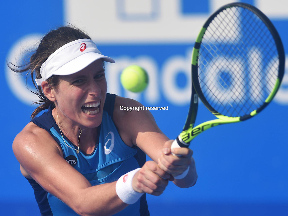 03.01.2017. Shenzen, China.  Johanna Konta of Britain returns a shot to Vania King of the United States during a women s singles second round match at the WTA Tennis Damen Shenzhen Open tennis tournament in Shenzhen, south Chinas  Guangdong Province, on Jan. 3, 2017. Konta won 2-0.