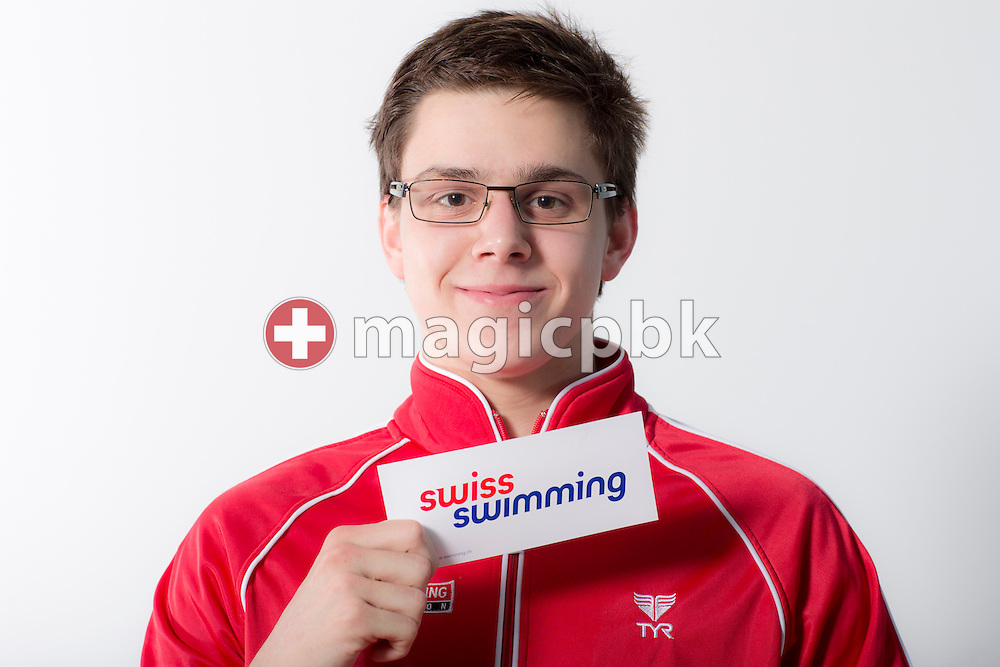 Swimmer Tim SLANSCHEK of Switzerland poses with Swiss Swimming sticker during a portrait session during the International Swim Meet Uster 2014 in Uster, Switzerland, Saturday, Jan. 25, 2014. (Photo by Patrick B. Kraemer / MAGICPBK)