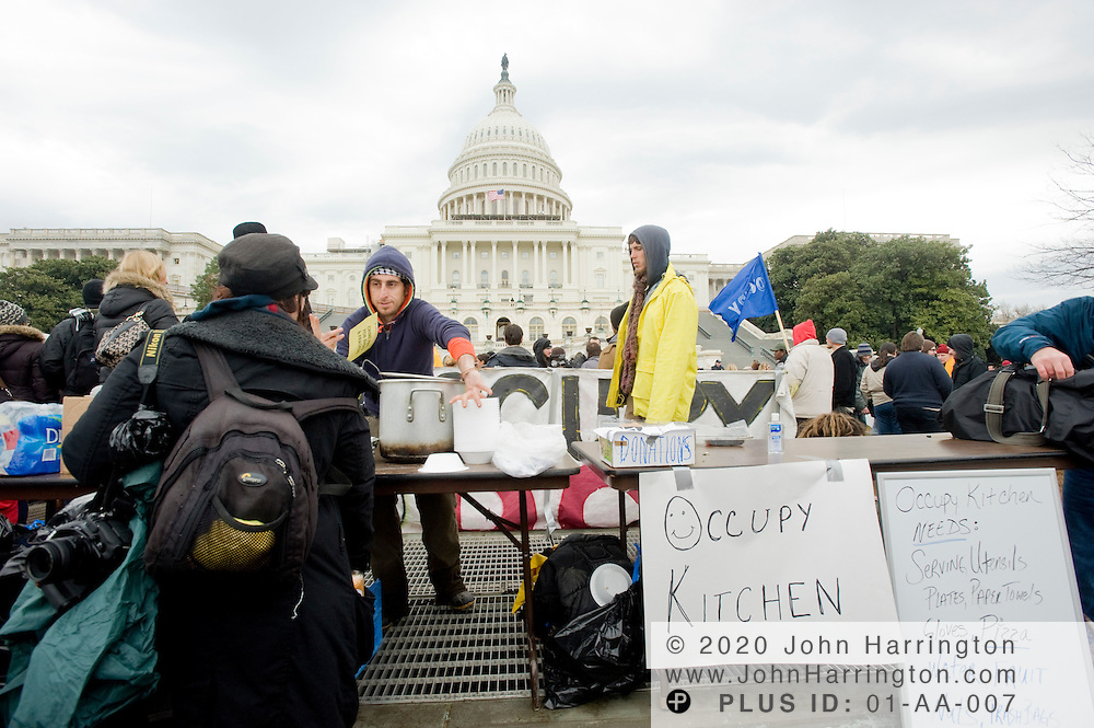 The occupy kitchen serving oatmeal and rice and beans to Occupy DC protesters on the grounds of the US Capitol, Tuesday January 17,2012.
