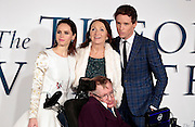 """Dec 9, 2014 - """"The Theory Of Everything"""" - UK Premiere - Red Carpet Arrivals at Odeon,  Leicester Square, London<br /> <br /> Pictured: Lucy Hawking, guest, Jane Hawking and Professor Stephen Hawking<br /> ©Exclusivepix Media"""