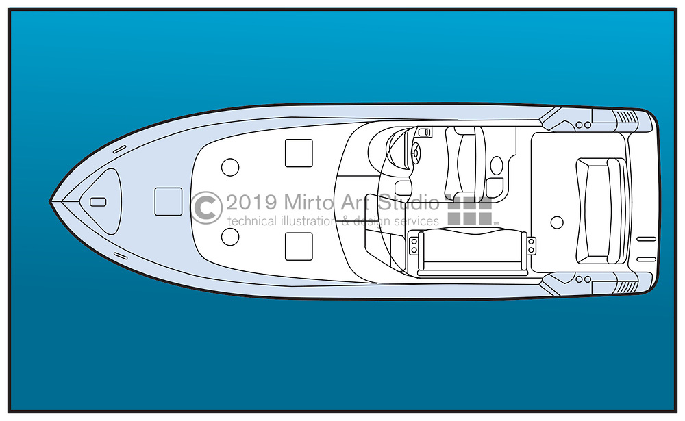 vector artwork of an inboard powerboat with cabin.