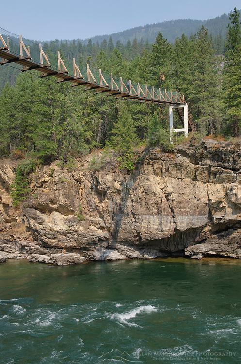Kootenai Falls Swinging Bridge, spans the Kootenai River at Kootenai Falls in northwestern Montana.