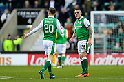 Anthony Stokes (#28) of Hibernian celebrates Hibernian's first goal (1-1) with Brandon Barker (#20) of Hibernian during the Ladbrokes Scottish Premiership match between Hibernian and Ross County at Easter Road, Edinburgh, Scotland on 23 December 2017. Photo by Craig Doyle.