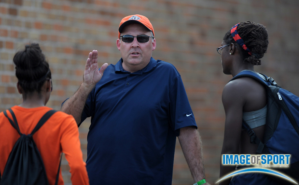 Mar 29, 2012; Austin, TX, USA; UTEP Miners multievents coach Scott Roberts at the 85th Clyde Littlefield Texas Relays at Mike A. Myers Stadium.