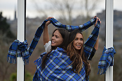 Mental Health nurse and Miss Great Britain finalist Louisa Thomson and her twin sister Cristina model the new tartan for mental health charity Support in Mind, the first tartan in the world specially designed for metal health awareness.<br /> <br /> (c) Dave Johnston / Eem