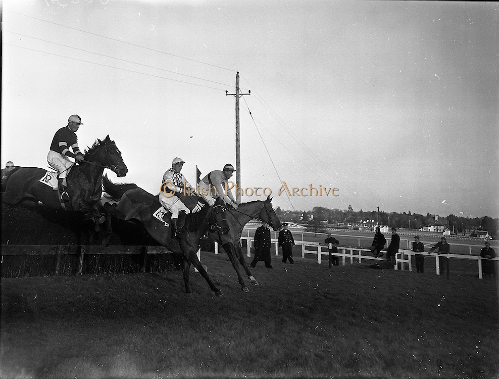 Horse Racing at Leopardstown..1961..13.02.1961..02.13.1961..13th February 1961..Scene from the horse racing at Leopardstown as a trio of hoses clear the last hurdle before the race to the line.