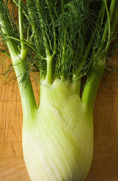 Studio still lifes of fennel on a cutting board.