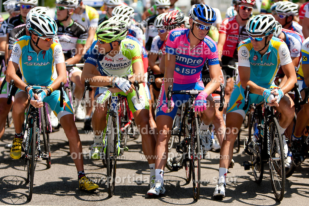 Jani Brajkovic of Astana, Kristjan Koren of Liqiugas, Grega Bole of Lampre-ISD and Borut Bozic of Astana during Slovenian National Championship Mirna Pec 2012, on June 24, 2012, in Mirna Pec, Slovenia. (Photo by Urban Urbanc / Sportida.com)