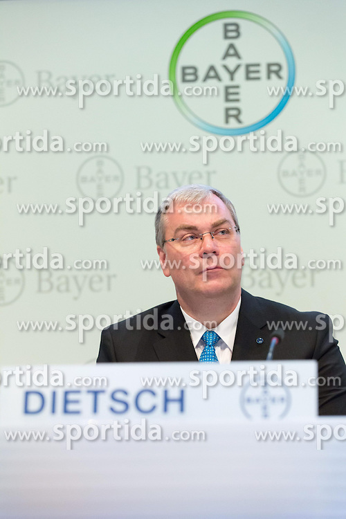 26.02.2015, Bayer-Kommunikationszentrum, Leverkusen, GER, Bilanzpressekonferenz Bayer AG, Ergebnisse des Geschäftsjahres 2014, im Bild Johannes Dietsch (Vorstand Finanzen Bayer AG) // during a Annual Press Conference Bayer AG at the Bayer-Kommunikationszentrum in Leverkusen, Germany on 2015/02/26. EXPA Pictures © 2015, PhotoCredit: EXPA/ Eibner-Pressefoto/ Schueler<br /> <br /> *****ATTENTION - OUT of GER*****