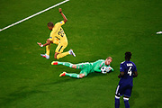 Kylian Mbappe of Paris Saint Germain jumps as Matz Sels of Anderlecht catches the ball during the UEFA Champions League, Group B football match between RSC Anderlecht and Paris Saint-Germain on October 18, 2017 at Constant Vanden Stock Stadium in Brussels, Belgium - Photo Geoffroy Van Der Hasselt / ProSportsImages / DPPI