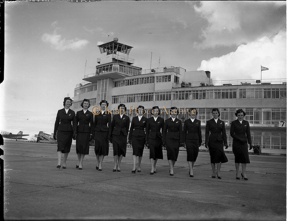 13/05/1957<br /> 05/13/1957<br /> 13 May 1957<br /> Aer Lingus Special. Five pairs of sisters at Dublin Airport, all hostess's with Aer Lingus.