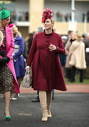Zara Tindall (centre) during Ladies Day of the 2018 Cheltenham Festival at Cheltenham Racecourse. PRESS ASSOCIATION Photo. Picture date: Wednesday March 14, 2018. See PA story RACING Cheltenham. Photo credit should read: Steven Paston/PA Wire. RESTRICTIONS: Editorial Use only, commercial use is subject to prior permission from The Jockey Club/Cheltenham Racecourse.