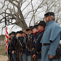 Union forces (5th U.S. Infantry regiment) form up prior to marching into positions to engage rebel forces.