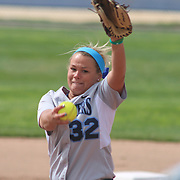 Saint Peter's College Pitcher Tori Feorenzo (32) pitching in the first inning of a NCAA Non Conference Regular season game between The University Of Delaware and The Peacocks of Saint Peter's Wednesday, April 23, 2014, at UD Softball Stadium in Newark Delaware.