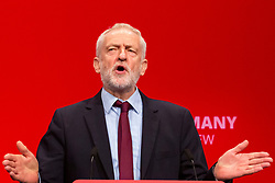 © Licensed to London News Pictures. 24/09/2019. Brighton, UK. Leader of the Labour Party JEREMY CORBYN holds an impromptu speech at the 2019 Labour Party Conference in Brighton and Hove after hearing the news that the advice given to the Queen by Prime Minister BORIS JOHNSON was deemed illegal by the Supreme Court. Photo credit: Hugo Michiels/LNP
