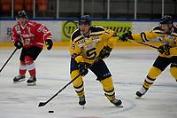 2019-08-14 | Nyköping, Sweden: Södertälje SK (19) Lucas Carlsson during the game between Nyköping SK and Södertälje SK at Nyköping Arena ( Photo by: Simon Holmgren | Swe Press Photo )<br /> <br /> Keywords: Nyköping Arena, Nyköping, Ice hockey, Preseason game, Nyköping SK, Södertälje SK