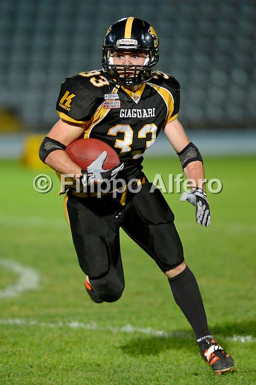 &copy; Filippo Alfero<br /> Torino, 02/06/2012<br /> Giaguari vs Blacks<br /> sport football americano<br /> Nella foto: Giacomo Caruso