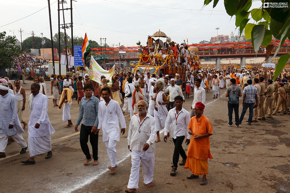 Today 29 th August 2015, first SHAHI SNAN, Mahant and sadhus took Holy Bath, in river Godavari, Rmkunda Nashik, India.