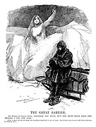 "The Great Barrier. <br /> Ice Maiden (to Captain Scott). ""Courage you have, but you must have gold too before I let you pass.""<br /> (There is grave fear lest the South Pole Expedition should fail for lack of funds. Contributions may be sent to Sir Edgar Speyer, 7 Lothbury, E.C.)"